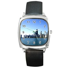 Chicago Skyline Square Leather Watch
