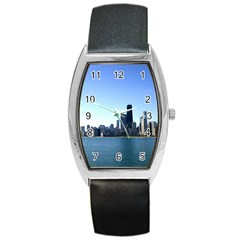 Chicago Skyline Tonneau Leather Watch