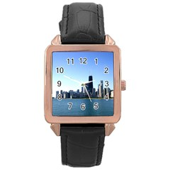 Chicago Skyline Rose Gold Leather Watch  by canvasngiftshop