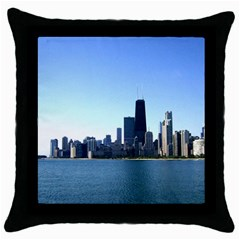 Chicago Skyline Black Throw Pillow Case