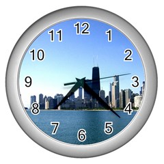 Chicago Skyline Wall Clock (Silver)