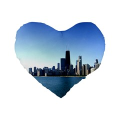 Chicago Skyline 16  Premium Heart Shape Cushion