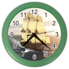 French Warship Wall Clock (color)