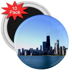 Chicago Skyline 3  Button Magnet (10 Pack)