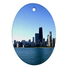 Chicago Skyline Oval Ornament by canvasngiftshop