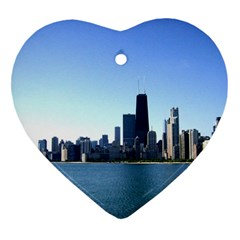Chicago Skyline Heart Ornament (Two Sides)