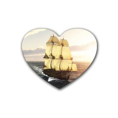 French Warship Drink Coasters (heart)