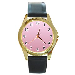 Pink Lace To Puce Gradient Round Metal Watch (gold Rim)