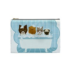 Dogs In Bath Cosmetic Bag (medium)