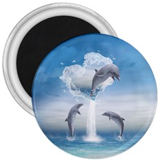 The Heart Of The Dolphins 3  Button Magnet by gatterwe