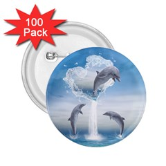 The Heart Of The Dolphins 2 25  Button (100 Pack)