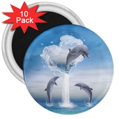 The Heart Of The Dolphins 3  Button Magnet (10 Pack) by gatterwe