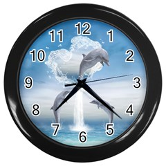 The Heart Of The Dolphins Wall Clock (black)