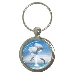 The Heart Of The Dolphins Key Chain (round)