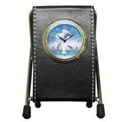 The Heart Of The Dolphins Stationery Holder Clock
