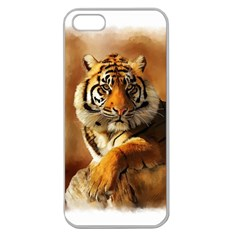 Tiger Apple Seamless Iphone 5 Case (clear) by cutepetshop