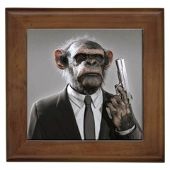 Monkey Business Framed Ceramic Tile