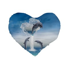 The Heart Of The Dolphins 16  Premium Heart Shape Cushion  by gatterwe