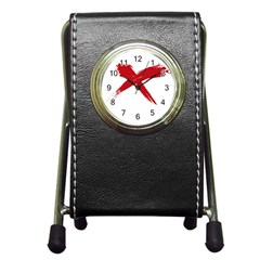 Red X Stationery Holder Clock by magann