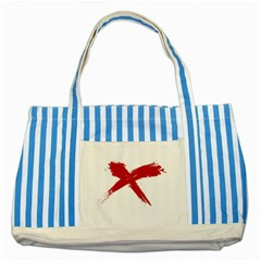 Red X Blue Striped Tote Bag by magann
