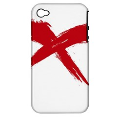 Red X Apple Iphone 4/4s Hardshell Case (pc+silicone) by magann