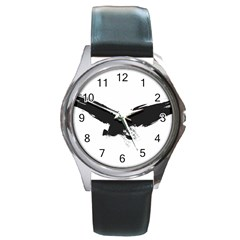 Grunge Bird Round Metal Watch (silver Rim)