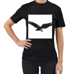Grunge Bird Womens' Two Sided T Shirt (black) by magann