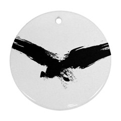 Grunge Bird Round Ornament (two Sides)