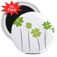Clover 3  Button Magnet (10 Pack) by magann