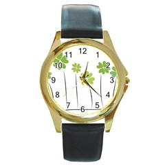 Clover Round Metal Watch (gold Rim)  by magann