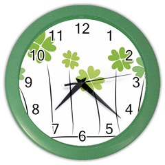 Clover Wall Clock (color) by magann