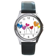Heart Flowers Round Metal Watch (silver Rim)