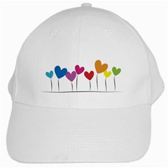 Heart Flowers White Baseball Cap