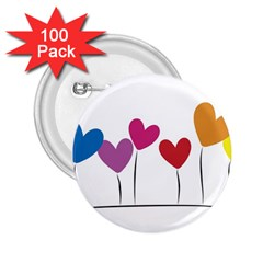 Heart Flowers 2 25  Button (100 Pack) by magann