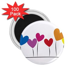 Heart Flowers 2 25  Button Magnet (100 Pack) by magann
