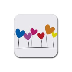 Heart Flowers Drink Coaster (square) by magann