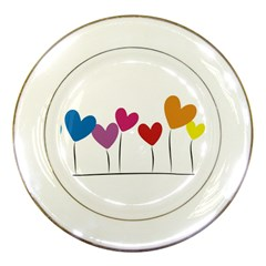 Heart Flowers Porcelain Display Plate