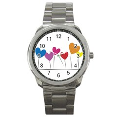Heart Flowers Sport Metal Watch by magann