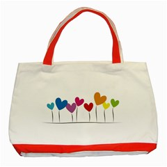 Heart Flowers Classic Tote Bag (red) by magann