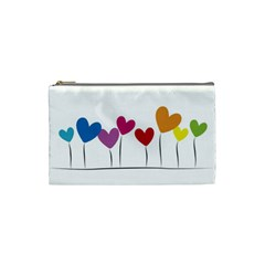 Heart Flowers Cosmetic Bag (small) by magann