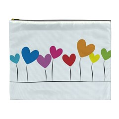 Heart Flowers Cosmetic Bag (xl) by magann
