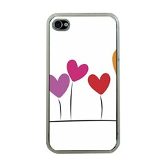 Heart Flowers Apple Iphone 4 Case (clear) by magann
