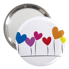 Heart Flowers 3  Handbag Mirror
