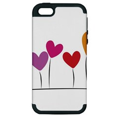 Heart Flowers Apple Iphone 5 Hardshell Case (pc+silicone) by magann