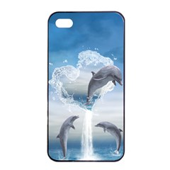 The Heart Of The Dolphins Apple Iphone 4/4s Seamless Case (black) by gatterwe