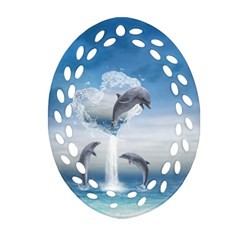 The Heart Of The Dolphins Ornament (oval Filigree) by gatterwe