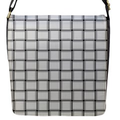 White Weave Flap Closure Messenger Bag (small)