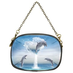 The Heart Of The Dolphins Chain Purse (two Side)