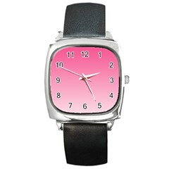 French Rose To Piggy Pink Gradient Square Leather Watch