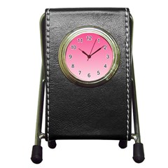 French Rose To Piggy Pink Gradient Stationery Holder Clock